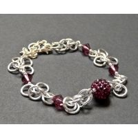Ladies jewellery Forever charmed Enchanted Bracelet £24 silver chain & purple crystal also made with swarovski comes with coa