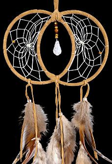 Tan Soul Connection Double Dream Catcher. It is by sharing ourselves with another that we come to truly learn about who we are. Soul Connection Dream Catchers honor this relationship between two people. This beautiful dreamcatcher is detailed with feathers and a Swarovski crystal.