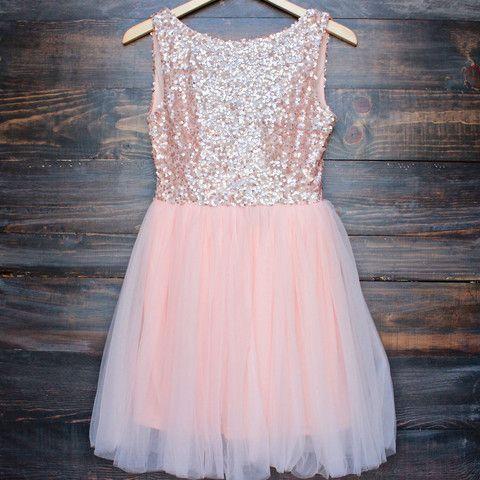 sugar plum dazzling rose pink sequin darling party dress - shophearts - 1