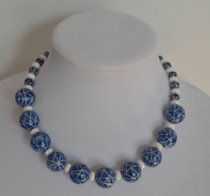 Bold and Chunky Navy Blue and White Necklace by SKDesignsCo on Etsy