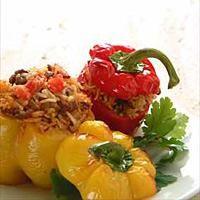 Paprika fylt med ris og kjøtt -