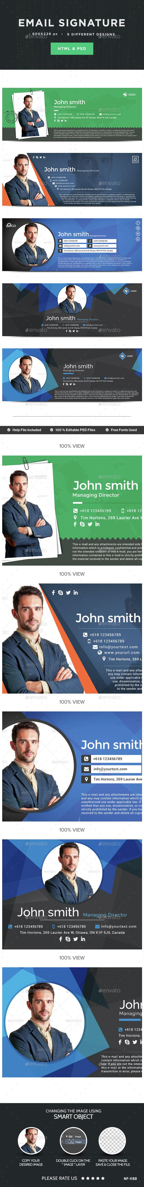 Email Signature - 5 Designs - HTML Files Included - Miscellaneous Social Media