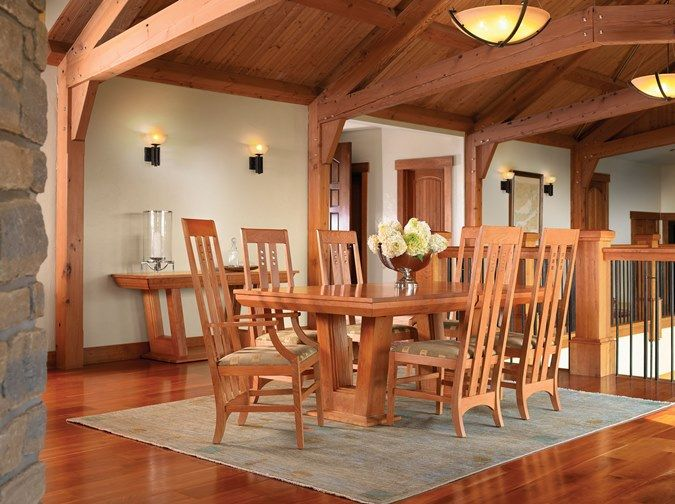 Stickley Highlands Pedestal Dining Table And Mackintosh Chairs