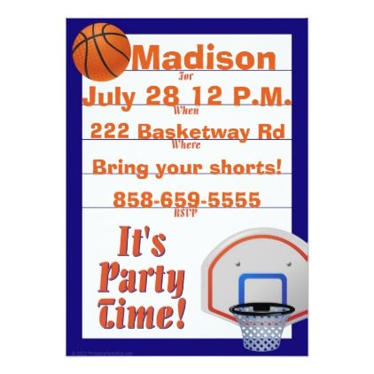 Custom Basketball Themed Invite - invitations personalize custom special event invitation idea style party card cards
