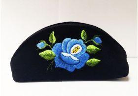 Ludowa mała kosmetyczka etui niebieska róża