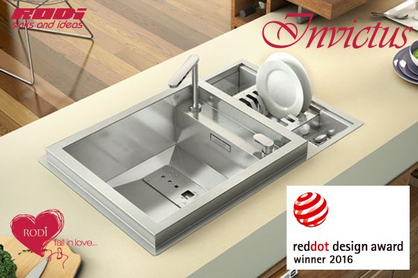 INVICTUS GRANTS ANOTHER DESIGN AWARD TO RODI - SINKS AND IDEAS, S.A. The innovative capacity and expertise of RODI team of professionals are, once again, demonstrated and confirmed by the obtaining of the RED DOT AWARD: PRODUCT DESIGN 2016, that awarded INVICTUS kitchen sink, a harmonious and extremely functional piece of high quality design.