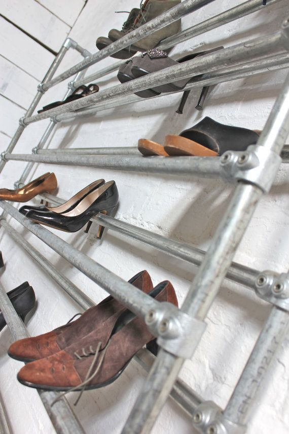 Extra Large Galvanised Steel Pipe Shoe Rack - Bespoke Urban Furniture by www.inspiritdeco.com
