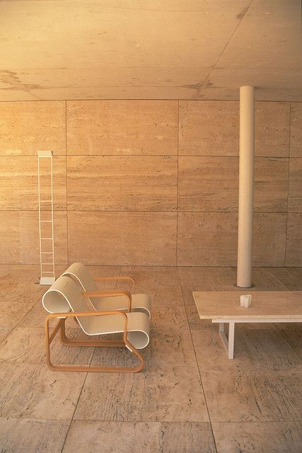 Alberto Campo Baeza / Centre B.I.T. [featuring one of my all time favourite Aalto chair]. Travertine flooring and walls. Large tiles.