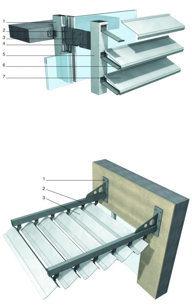 Sistema de sombreado compatible con panel de vidrio. 1.Elemento de soporte vertical para el panel de soporte. 2.Elemento de fijación metálico que se une al panel de vidrio. 3.Lámina de conexión. 4.Elemento metálico que conecta los elementos de soporte del sistema de sombreado. 5.Elemento de soporte del panel de vidrio vertical. 6.Conector de guía a la sección. 7.Las rejillas de chapa de acero o de un perfil de aluminio.Sistema de sombreado apoyada en la pared exterior. 1.Sección…