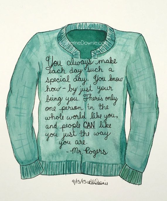 Watercolor Mr. Rogers Sweater and Quote Print by MichiganArtiste