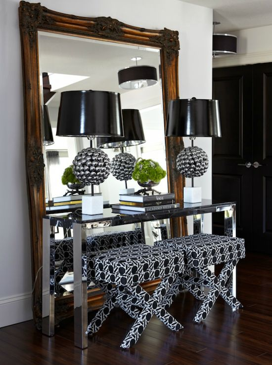 Contemporary Foyer Table And Mirror : Atmosphere interior design modern foyer entrance with