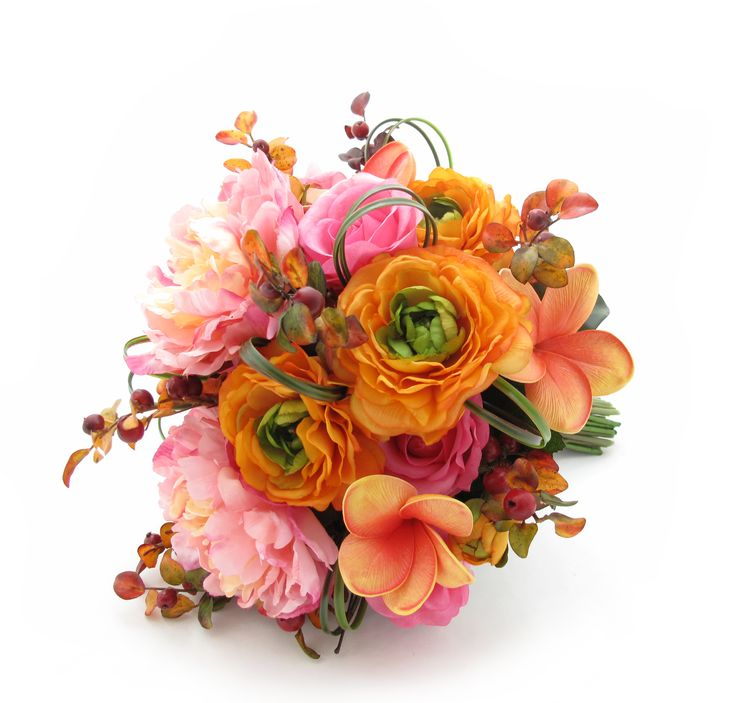 An extra-large posy of coral frangipanis, orange ranunculi, Fresh Touch bright pink roses, autumn berries, sunset peonies, bear grass loops and magnolia leaves. Design your perfect wedding flowers online at https://www.loveflowers.com.au