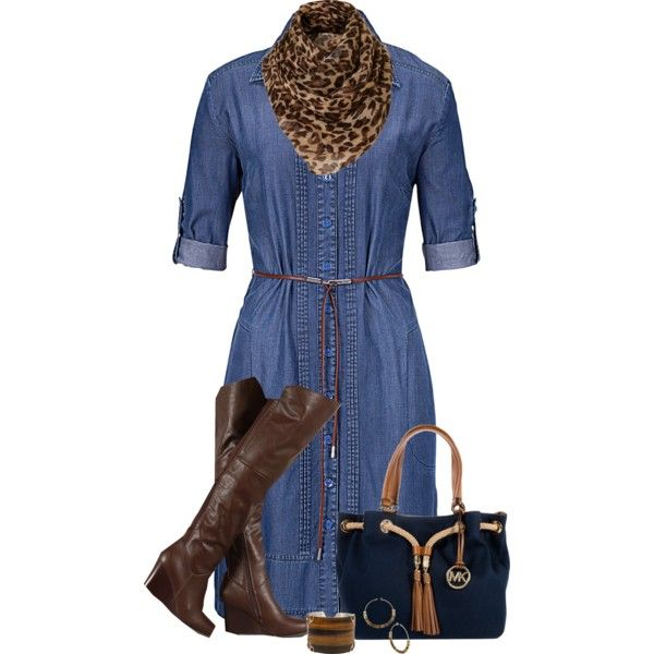 """Denim Shirt Dress"" by daiscat on Polyvore"