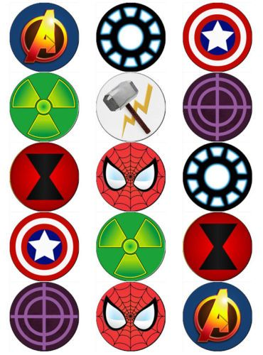 AVENGERS-LOGO-SUPERHERO-EDIBLE-WAFER-PAPER-TOPPERS-CUPCAKE-CAKE-MUFFIN-FAIRY