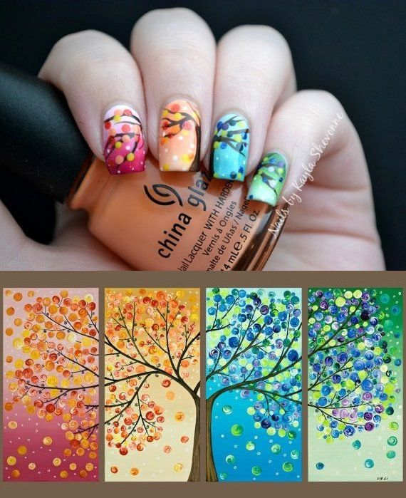 Nails by Kayla Shevonne - beautiful Spring nails - pink, orange, blue, green