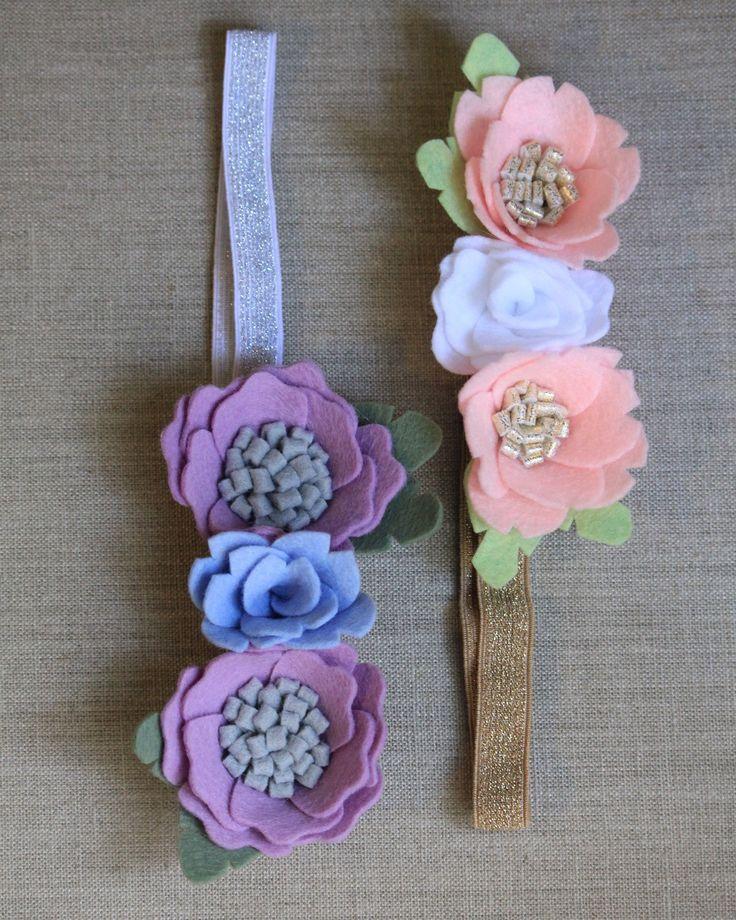 Girl or infant felt floral headbands di ElleandLu su Etsy