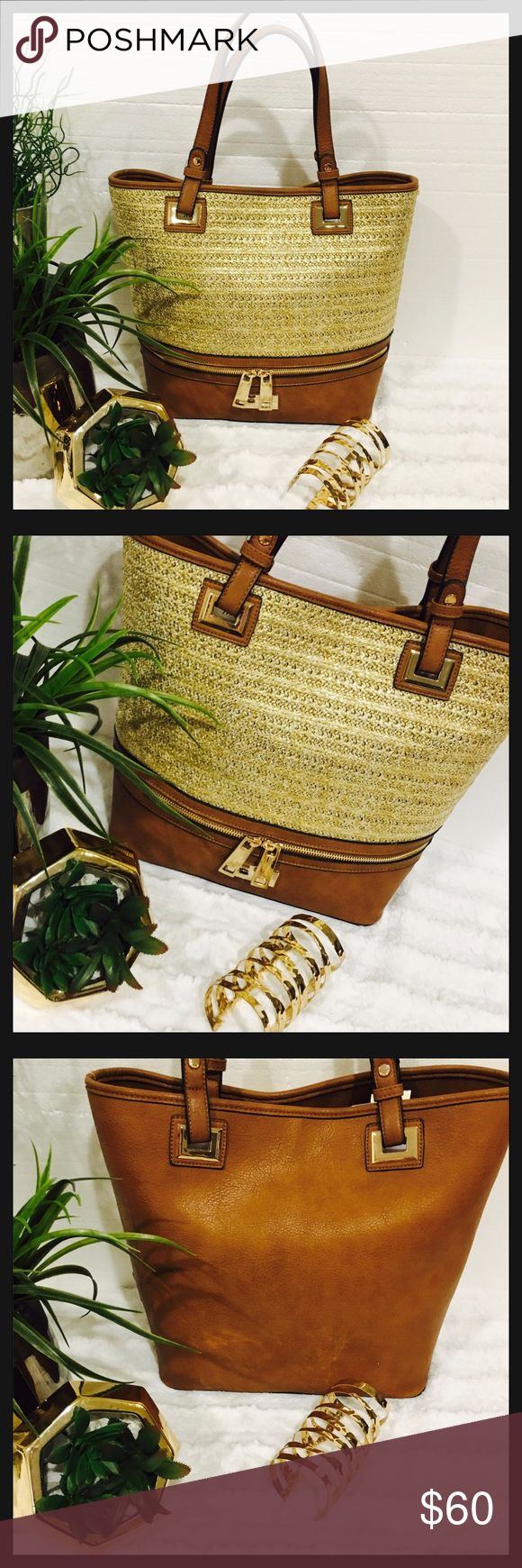 """✨NWT✨Gorgeous Cognac & Gold Tote Bag 🍁 ✨NWT✨Gorgeous Gold & Cognac Tote Bag 🍂🍁 Size Height 12"""" by 17"""" Width Straps 8""""bring large Black Bag inside for extra storage🍁 Dune London Bags Totes"""