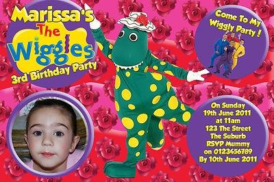 Dorothy The Dinosaur Wiggles Birthday Party Invitations Invites - You Print