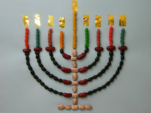Build your own Menorah using Pappardelle's Pasta, beans, and paper!