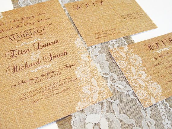 Wedding Invitations Mn: Lace And Burlap Wedding Invitations