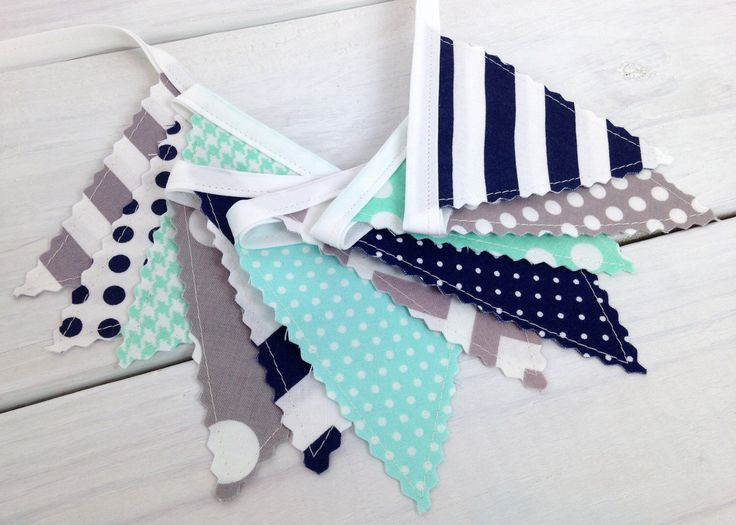 Bunting Banner Mini, Fabric Banner, Fabric Flags, Baby Boy Nursery Decor, Birthday Decoration - Mint Green,Navy Blue,Gray,Grey,Chevron,Dots by thespottedbarn on Etsy https://www.etsy.com/listing/234432355/bunting-banner-mini-fabric-banner-fabric