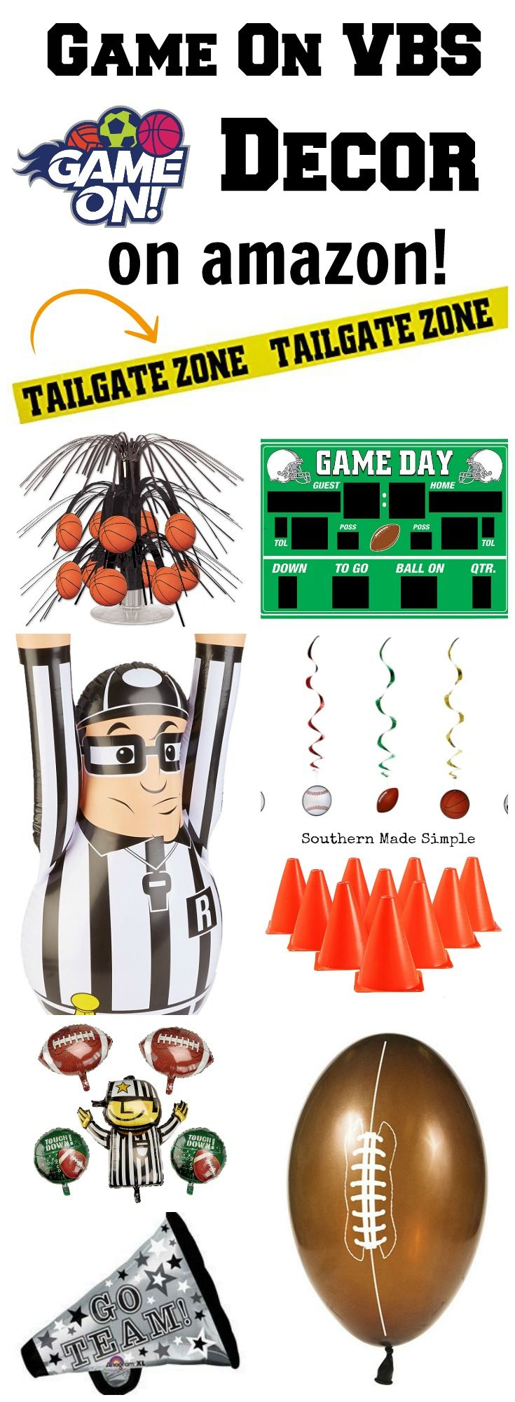 Are you ready to gear up for VBS 2018? Here's a roundup of the cutest game day decor you need to make your Game On vbs great, and it's all available on Amazon! Hello, 2 day shipping!