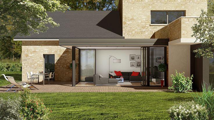 Dotée d'une avancée de toiture design et pleine d'allure, #verandaesthete propose d'y intégrer de nombreuses solutions d'éclairage ou d'occultation : brise-soleil, stores, volets roulants, etc. #verandarideau