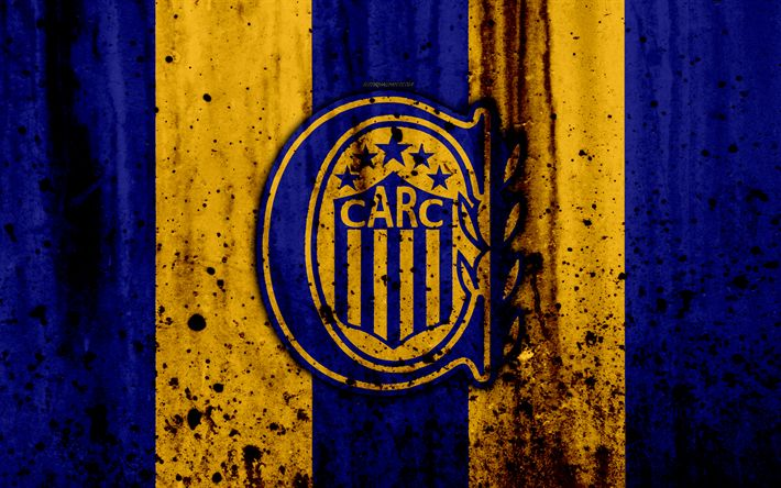 Download wallpapers 4k, FC Rosario Central, grunge, Superliga, soccer, Argentina, logo, Rosario Central, football club, stone texture, Rosario Central FC