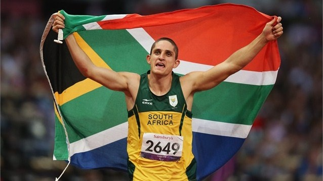 Fanie van der Merwe of South Africa celebrates as he wins gold