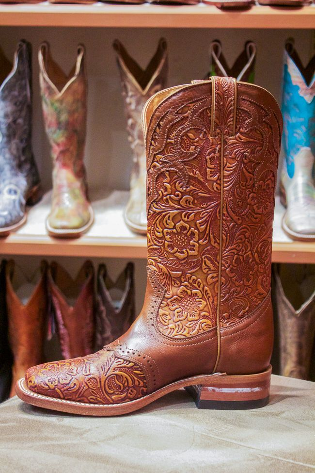 Brown Carved Leather Boulet Boot