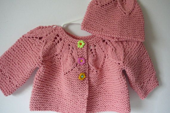 Knit Baby Jacket and Hat/Baby by fashionablekids on Etsy, $55.00