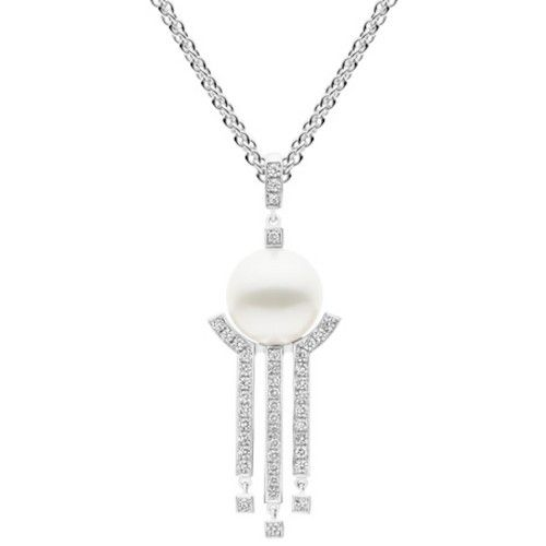 Statement making Kailis Australian White South Sea pearl, white gold and diamond Metropolis pendant. View our collection of pearl jewellery at www.rutherford.com.au