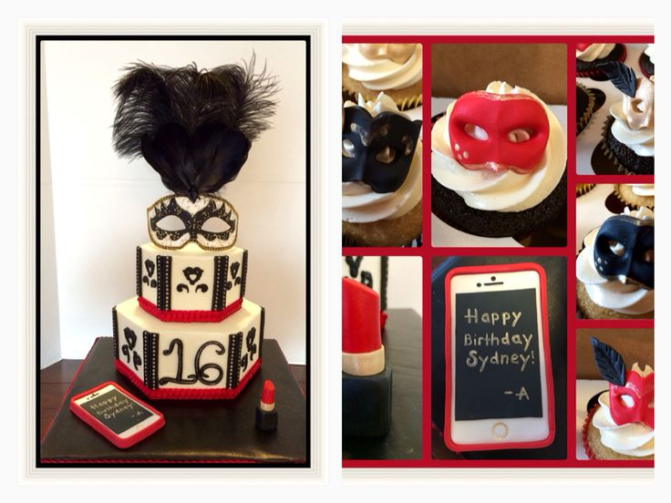 Sweet 16 Masquerade/ Pretty Little Liars cake and cupcakes