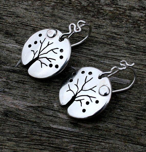 Boucles d'oreilles en argent, bijoux en argent, la Lune, Boucles d'arbres, Bijoux en argent