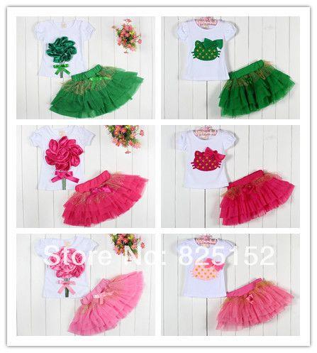 4 комплект / lot дети костюм девочки-младенцы цветы / Hello kitty T рубашка + юбка seat дети одежда комплект