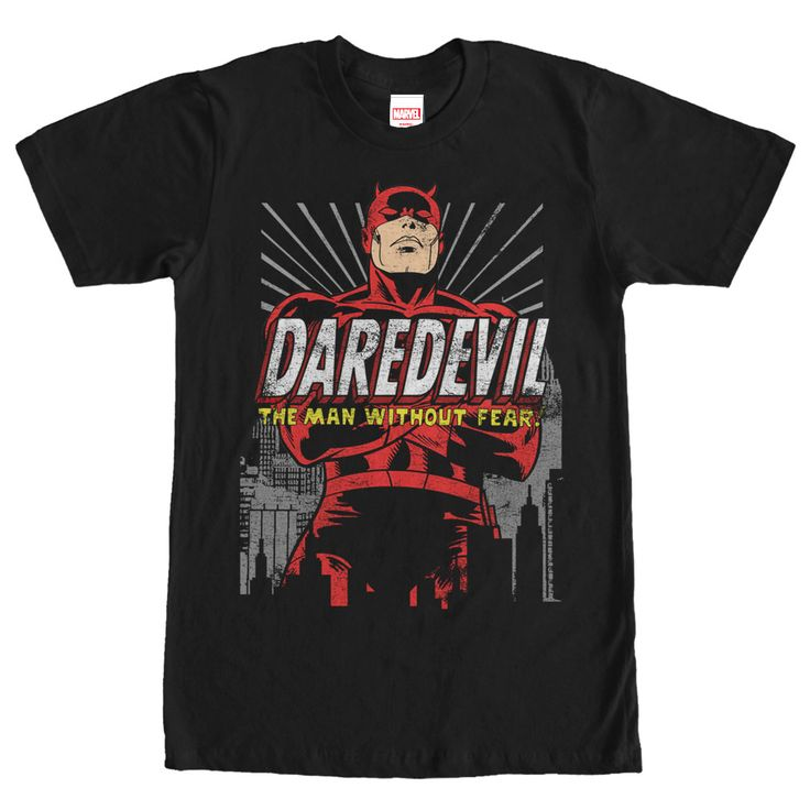 Dare You - When the Kingpin comes to town, youre going to want the Marvel Daredevil Classic No Fear Black T-Shirt on your side! A distressed print lends a vintage feel to the classic image of Daredevil in Hells Kitchen next to The Man Without Fear on the front