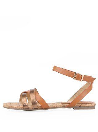 Victoria Delef - Bronzové páskové sandálky - 1