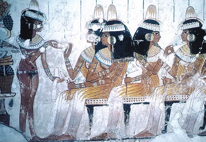 Women in Ancient Egypt   The ancient Egyptian women had it much better than their counterparts in other ancient civilizations. Like that!: Funerari Banquet, Lotus Flowers, Tomb Paintings, Jewels Collars, Wall Paintings, Egyptian Women, Beads Collars, Ancient Egyptian, Gold Earrings