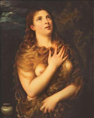 Penitent Mary Magdalene by Titian (Tiziano Vecellio), 1490-1576