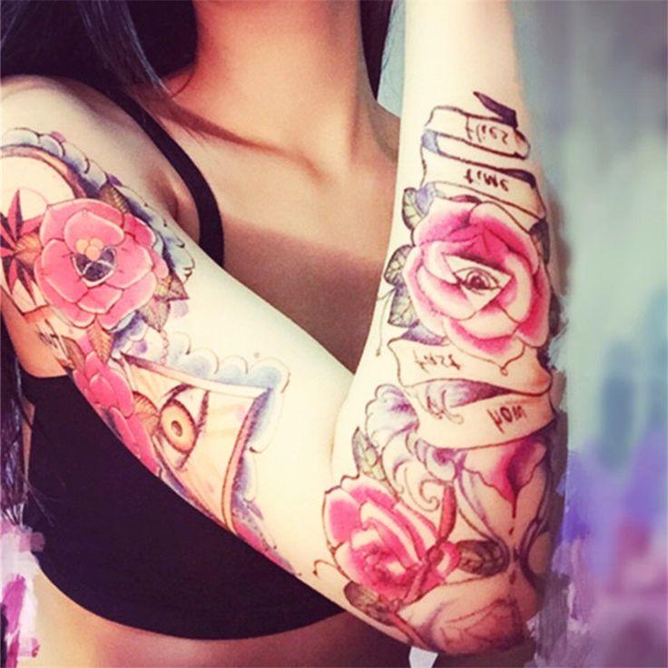 2PCS/LOT Fashion Waterproof Temporary Tattoo Women Henna Rose Design Tattoo Sticker Transferable Temporary Tattoo Sleeve