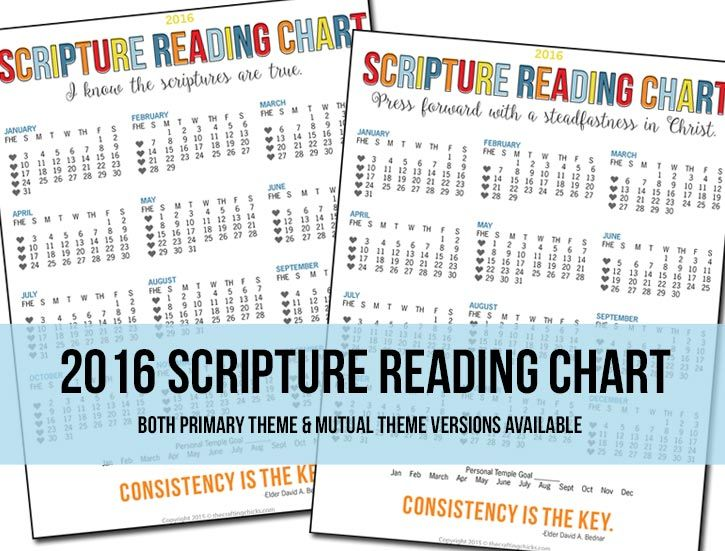 2016 Scripture Reading Chart - Both Primary theme and Mutual theme versions available - Free Printable