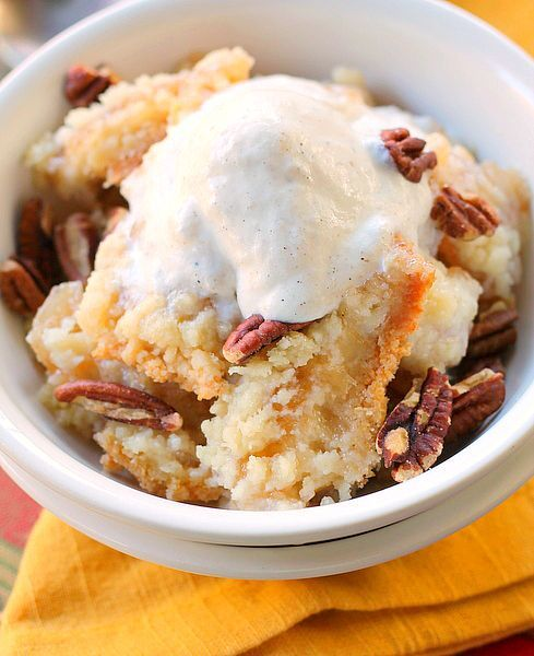 Sugar Cookie Apple Crisp is made easy by using a pouch of sugar cookie mix and apple pie filling. Add nuts and ice cream to the top and you have a delicious little treat that takes no time at all to make!