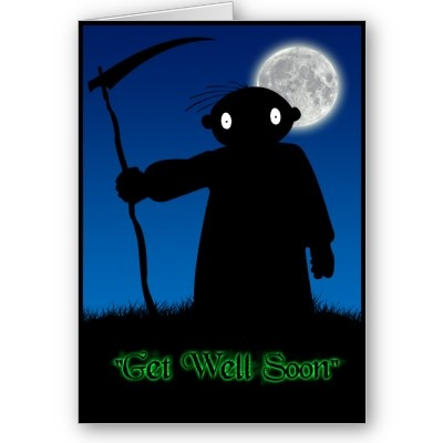 "Reaper - Dark Derek  ""Get Well Soon"". Always one for a bit of a macabre laugh and giggle, Dark Derek poses as the Grim Reaper to offer his best wishes! Easily apply your own text to the inside to ensure a personalised get well message!  #getwellsoon #grimreaper #reaper #ill #sick #poorly #hurt   #pain #sickness #health #fever #brokenarm #brokenleg #notwell #recovery #better #onthemend #cold #virus #flu #darkderek #gothic #macabre #dark #black #sinister #horror #halloween"