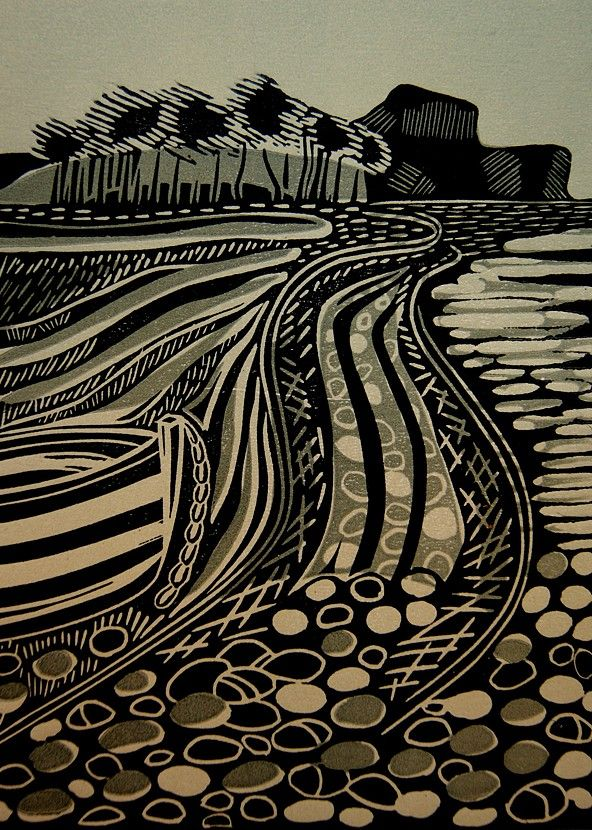 Cathy King | Budleigh Salterton (linocut, 2012).