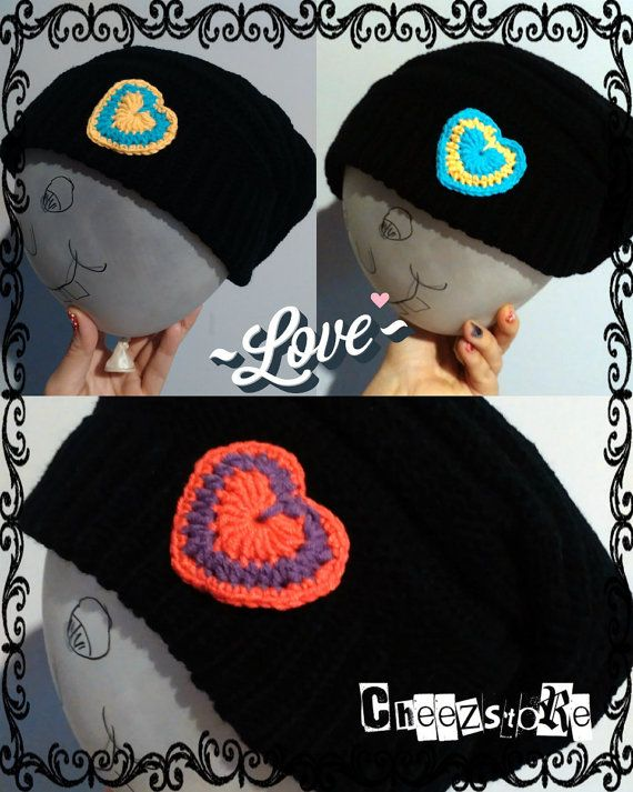 Slouchy beanie Crochet heart Many colors availiable by CheezStore