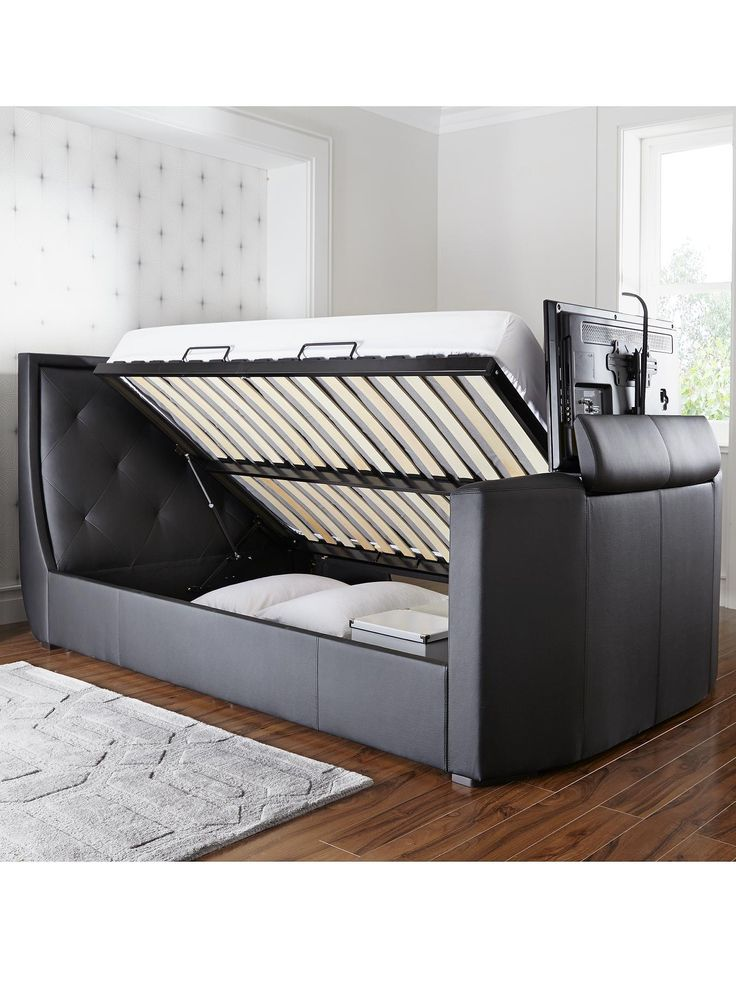 Estates Faux Leather Lift Up Storage Tv Bed Frame With Mattress Options And Save