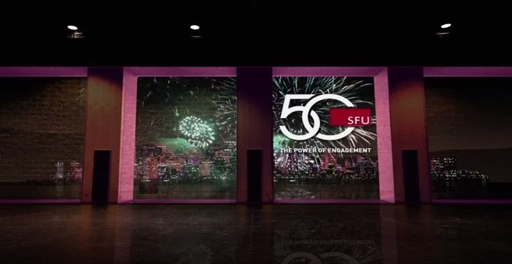 To launch Simon Fraser University's 50th Anniversary celebrations, the institution relied on a spectacular Experiential Projection Mapping to promote their new fundraising campaign. During an reception for their biggest donors, chancellors and alumni, SFU presented a virtual voyage through their campuses in BC, Canada.  To execute the project, they joined forces with creative agency Go2 Productions, responsible for mapping the environment and producing the 3D animation.