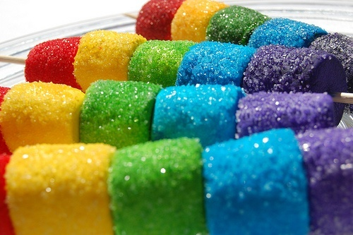 #Marshmallows rolled in bright rainbow coloured sprinkles!!! Marshmallows are soft - perfect for toddlers parties.