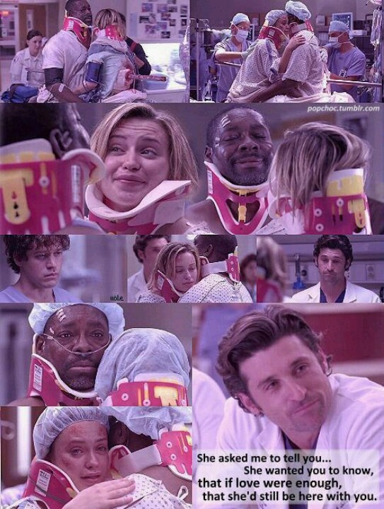 Bonnie :(...So sad but mirrored the life of Meredith at the time!  GREAT writing and so loved how Derek took care of Bonnie at the crucial moments!!