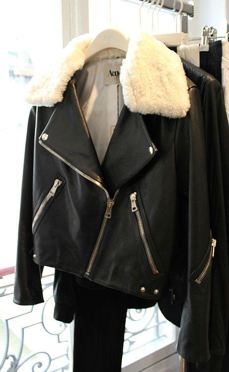 Acne White Fur Collar Jacket